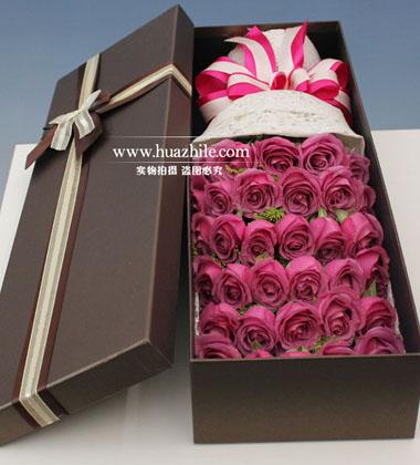 上海-33枝紫玫瑰花...