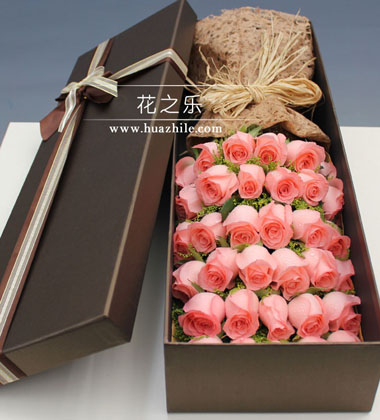 上海-33枝粉玫瑰花...
