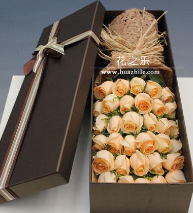 上海-33枝香槟玫瑰...